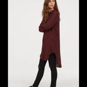 H&M Tunic Dress Maroon Burgundy Button Up 10